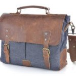 Gootium 21108 Cotton Canvas Genuine Leather Cross Body Laptop Messenger Shoulder Bag