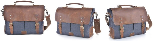 Review: Gootium 21108 Cotton Canvas Genuine Leather Cross Body Laptop Messenger Shoulder Bag