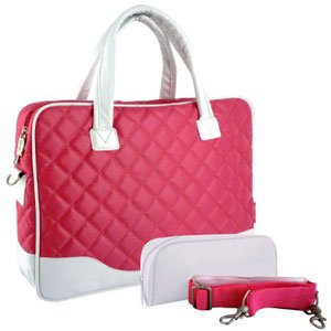 MyGift® 14.1 inch Pink Diamond Quilted Pattern with White Accent Trim Bubble Foam Padded Laptop Carrying Case