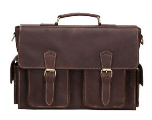 Review: Retro Genuine Leather Briefcase Business Laptop Messenger Crossbody Shoulder Bag
