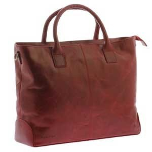 Vintage Tanned Red Leather Laptop Bag for Women