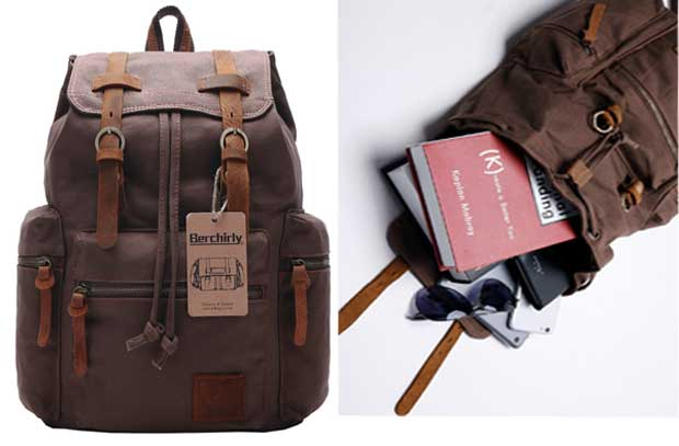 Berchirly Vintage Men Casual Canvas Leather Backpack - Leather Laptop Backpack for Men