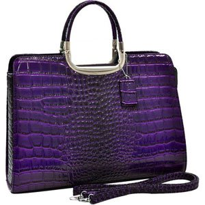 Dasein Patent Shine Croco Fashion Briefcase / Ostrich and Croco Fusion Textured Briefcase Laptop Tablet Ipad Bag