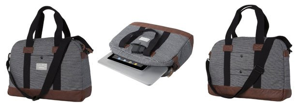 HEX Fleet Collection 15-Inch Laptop Duffel for MacBook Pro - Black/Grey Stripe (HX1161 - BYST)