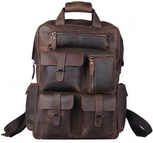 Polare Cool Cowhide Leather Multiple Laptop Backpack