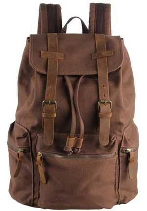 Polare Unisex Canvas Genuine Leather Travel Shcool Backpack